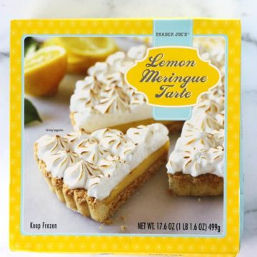 An unopened box of Trader Joe's Lemon Meringue Tarte