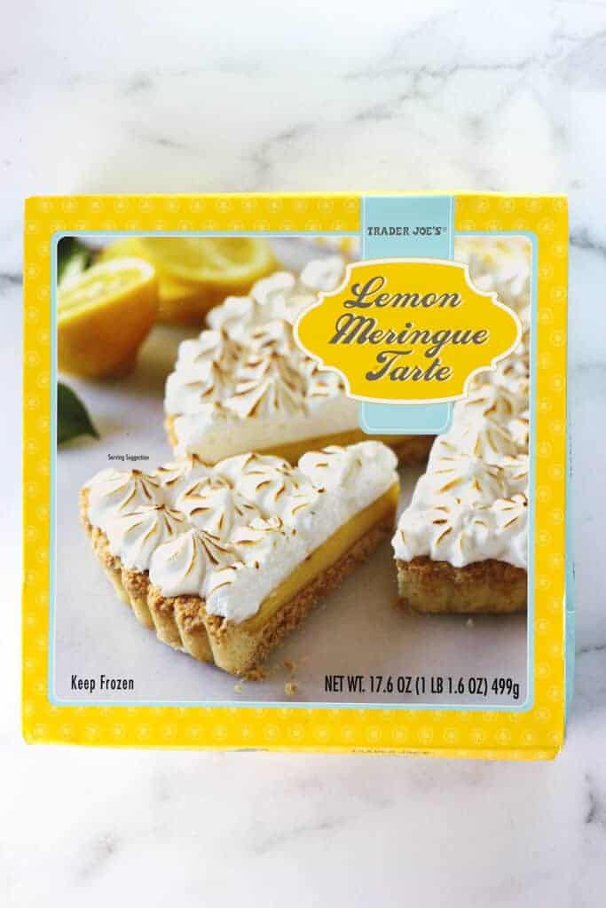 An unopened box of Trader Joe's Lemon Meringue Tarte