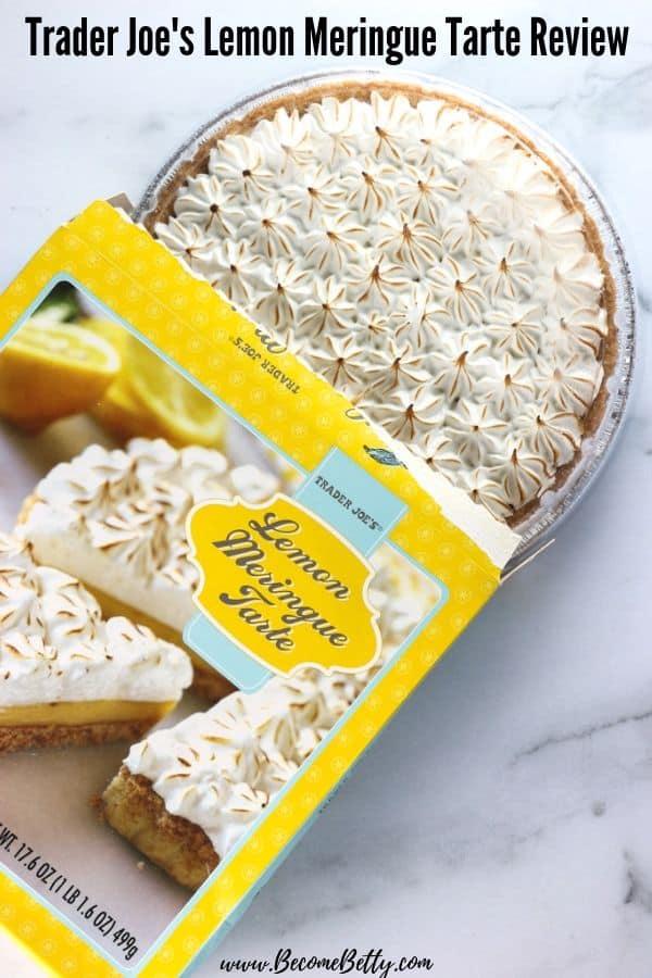 An opened box of Trader Joe's Lemon Meringue Tarte