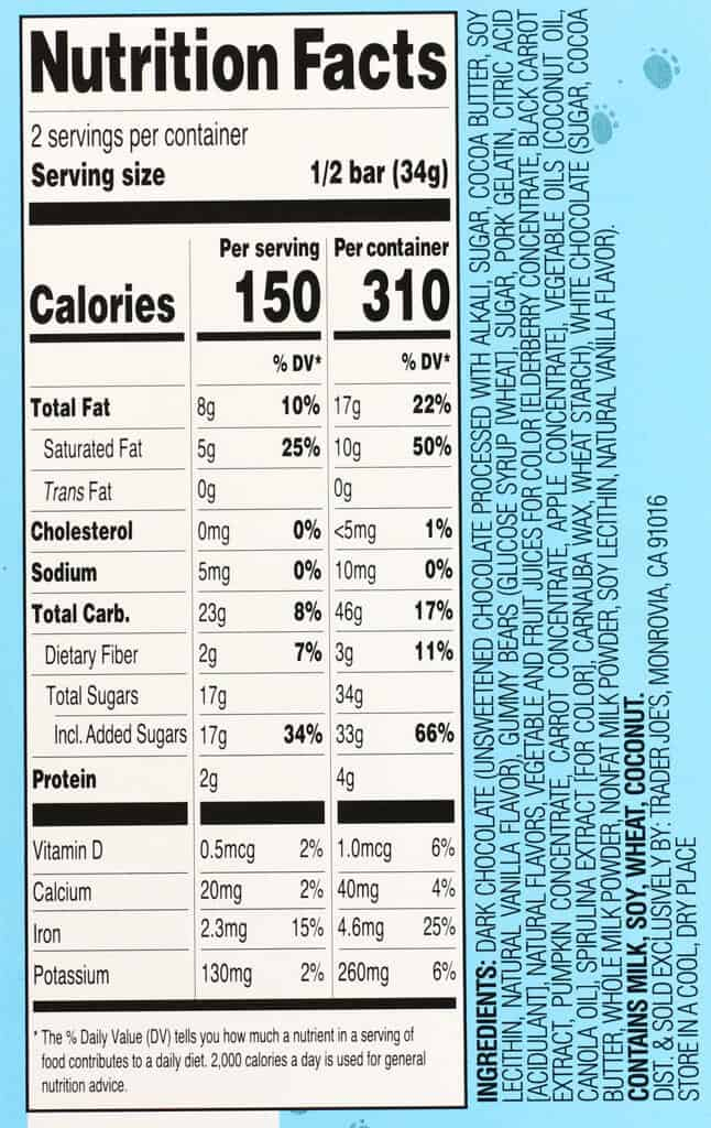 Calories, nutritional information and ingredients in Trader Joe's Mini Gummy Bears on a Chocolate Pool Day