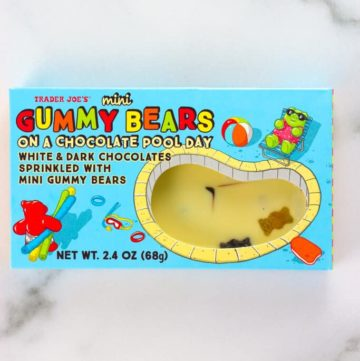 An unopened box of Trader Joe's Mini Gummy Bears on a Chocolate Pool Day