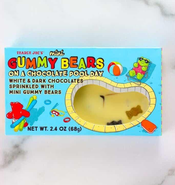 An unopened box of Trader Joe's Mini Gummy Bears on a Chocolate Pool Day