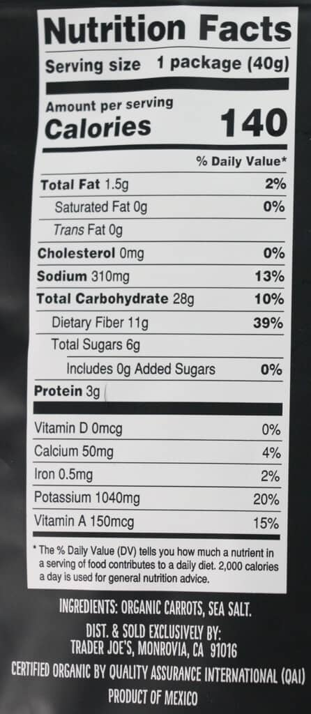 Calories, nutritional information and ingredient list in Trader Joe's Organic Carrots of Many Colors