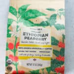 An unopened package of Trader Joe's Organic Ethiopian Peaberry
