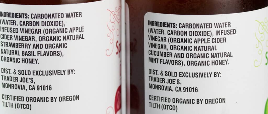 Ingredients in Trader Joe's Organic Sparkling Apple Cider Drinking Vinegar