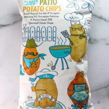 An unopened bag of Trader Joe's Patio Potato Chips
