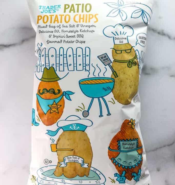 An unopened bag of Trader Joe's Patio Potato Chips