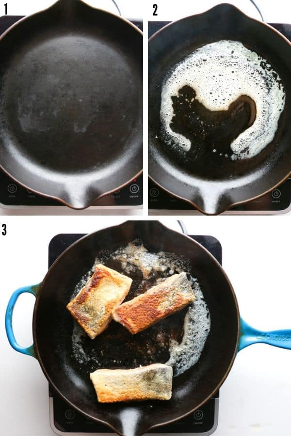 A collage showing the melted butter and the sauteeing of the salmon