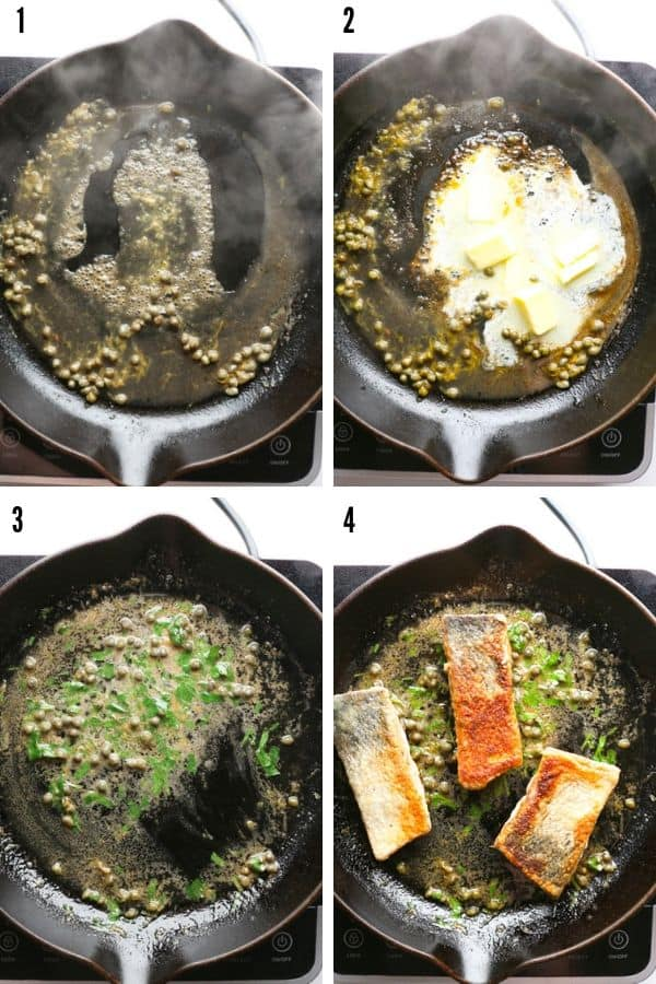 A collage showing the making of the sauce from wine and capers, to the addition of butter