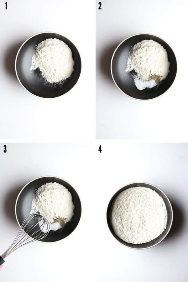 A collage showing flour, salt, and pepper being combined in a bowl
