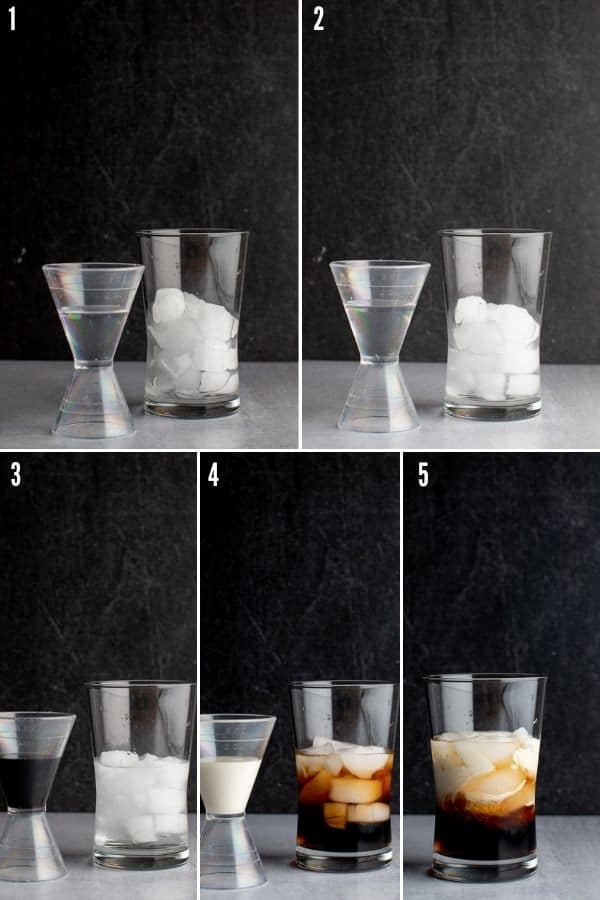Step 1 showing the addition of vodka, creme de cacao, kalhua, and cream to the glass