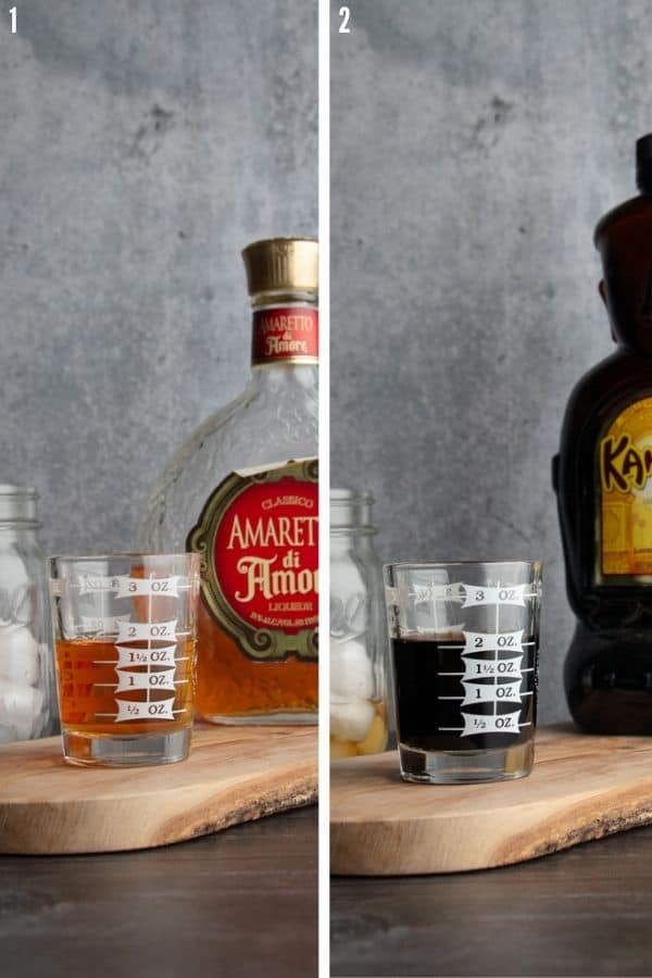 Amaretto and Kahlua measured and poured into a measuring glass