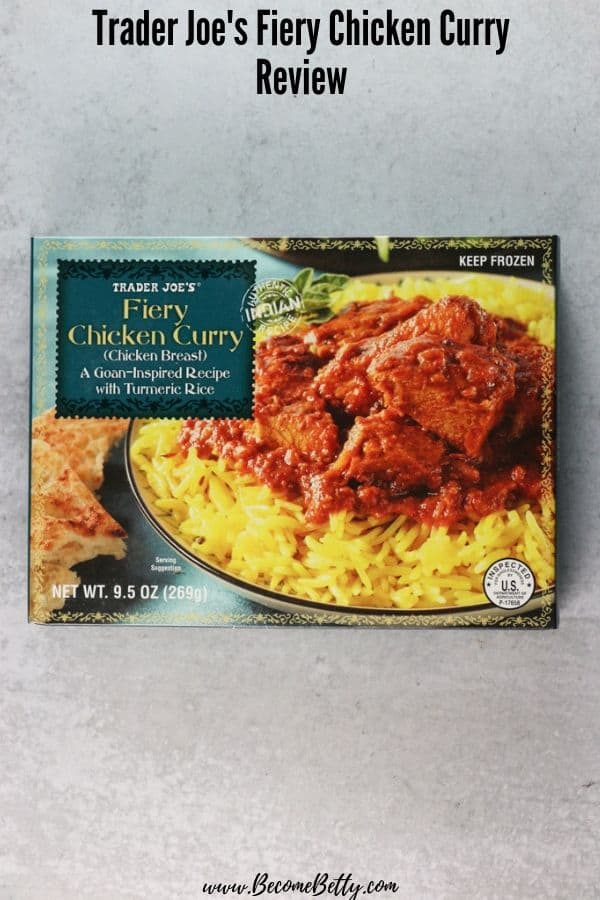 Trader Joe's Fiery Chicken Curry review pin for Pinterest
