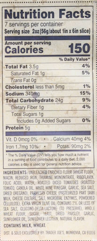 Nutritional information, calories, and ingredient list for Trader Joe's Focaccia Bread