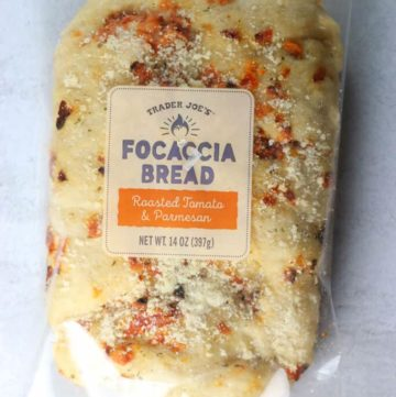 An unopened package of Trader Joe's Focaccia Bread
