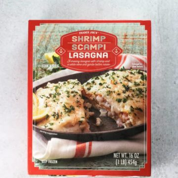 An unopened box of Trader Joe's Shrimp Scampi Lasagna