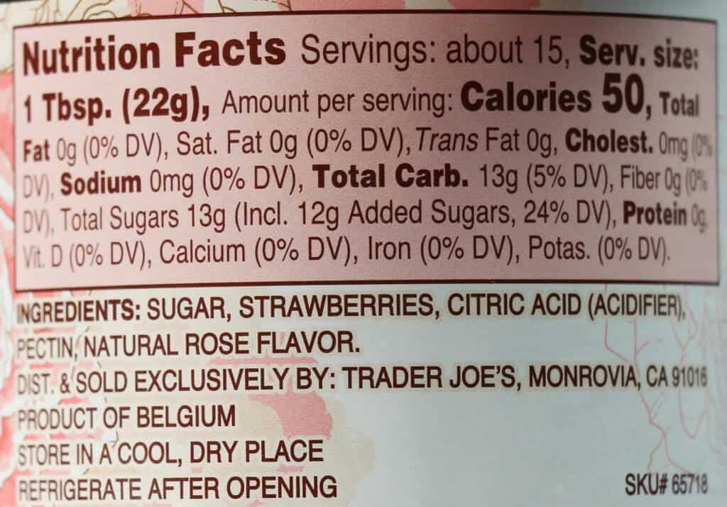 Calories, nutritional facts, and ingredients in Trader Joe's Strawberry Fruit Spread with Natural Rose Flavor