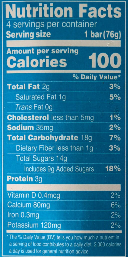 Nutritional information and calories in Trader Joe's Strawberry Greek Frozen Yogurt Parfait Bars
