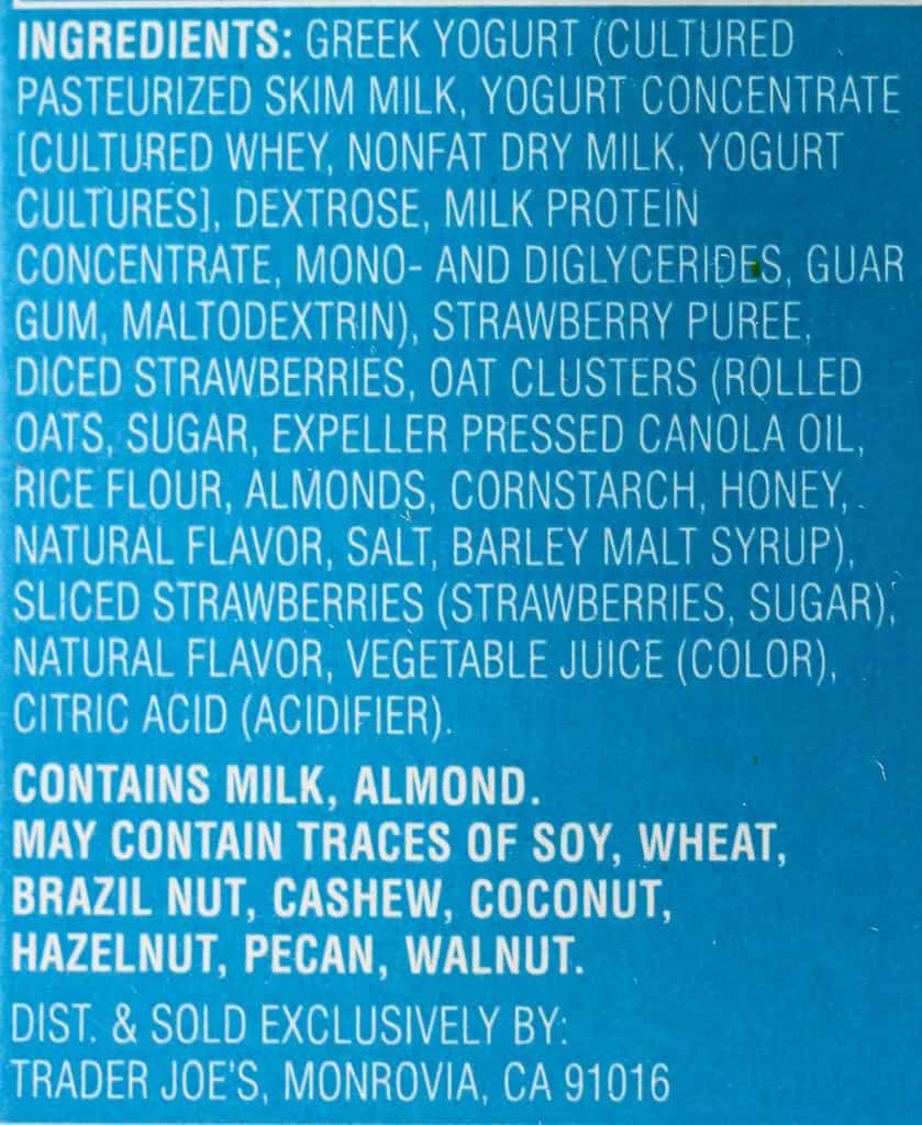 Ingredient list for Trader Joe's Strawberry Greek Frozen Yogurt Parfait Bars