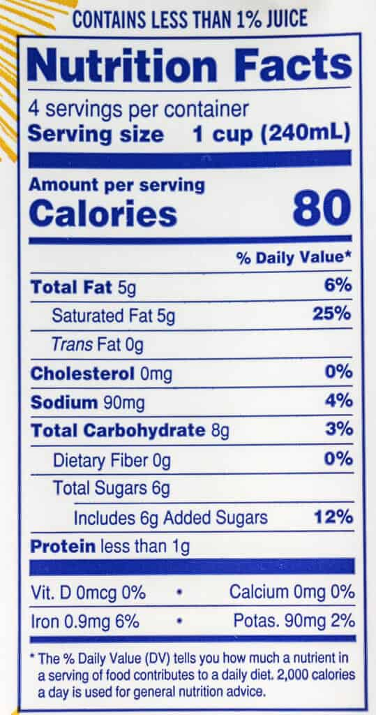 Nutritional information and calories in Trader Joe's Tumeric Ginger Coconut Beverage
