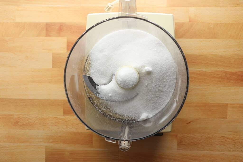 White sugar in a food processor