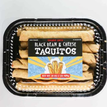 An unopened package of Trader Joe's Black Bean and Cheese Taquitos