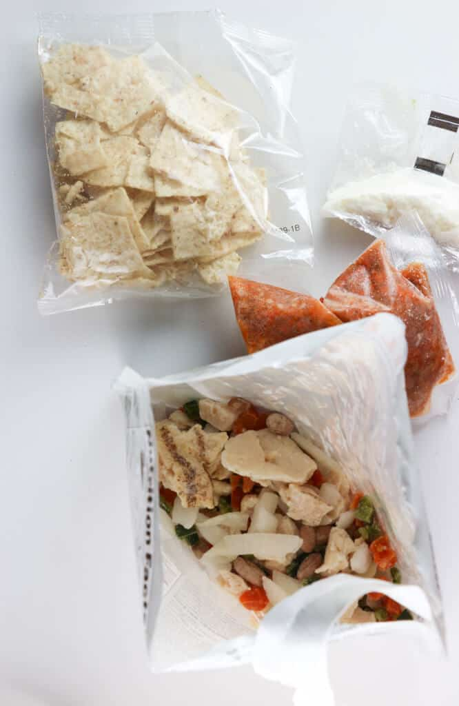 The contents of the package of Trader Joe's Chicken Chilaquiles Rojo