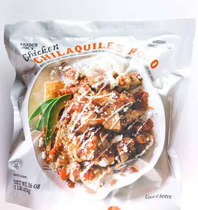 An unopened bag of Trader Joe's Chicken Chilaquiles Rojo