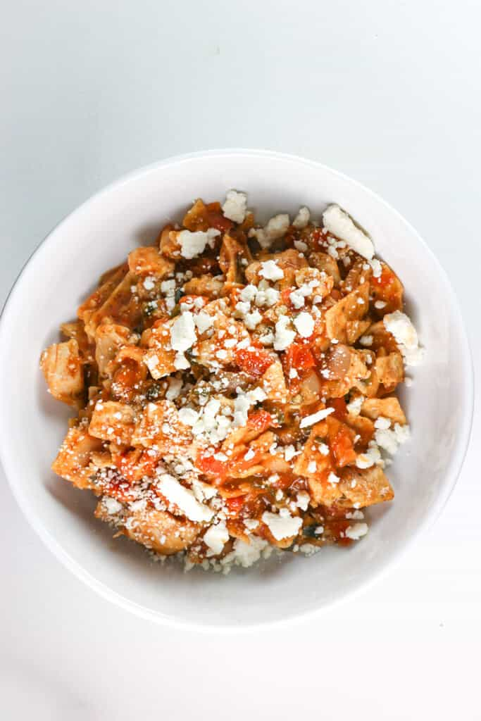 A fully cooked Trader Joe's Chicken Chilaquiles Rojo without the added water