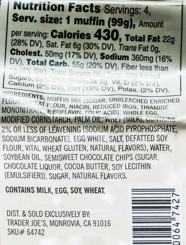 Nutritional information, calories, ingredients and allergy information for Trader Joe's Chocolate Chip Muffins review #traderjoes