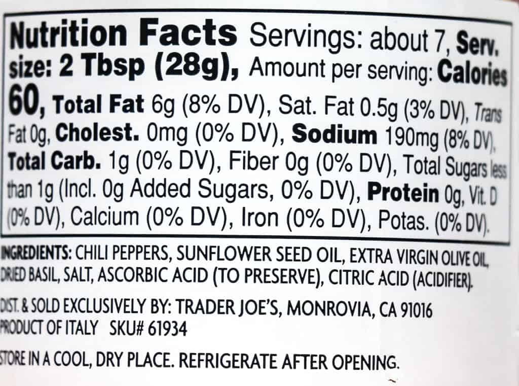 Nutritional facts, calories, and ingredients in Trader Joe's Italian Bomba Hot Pepper Sauce