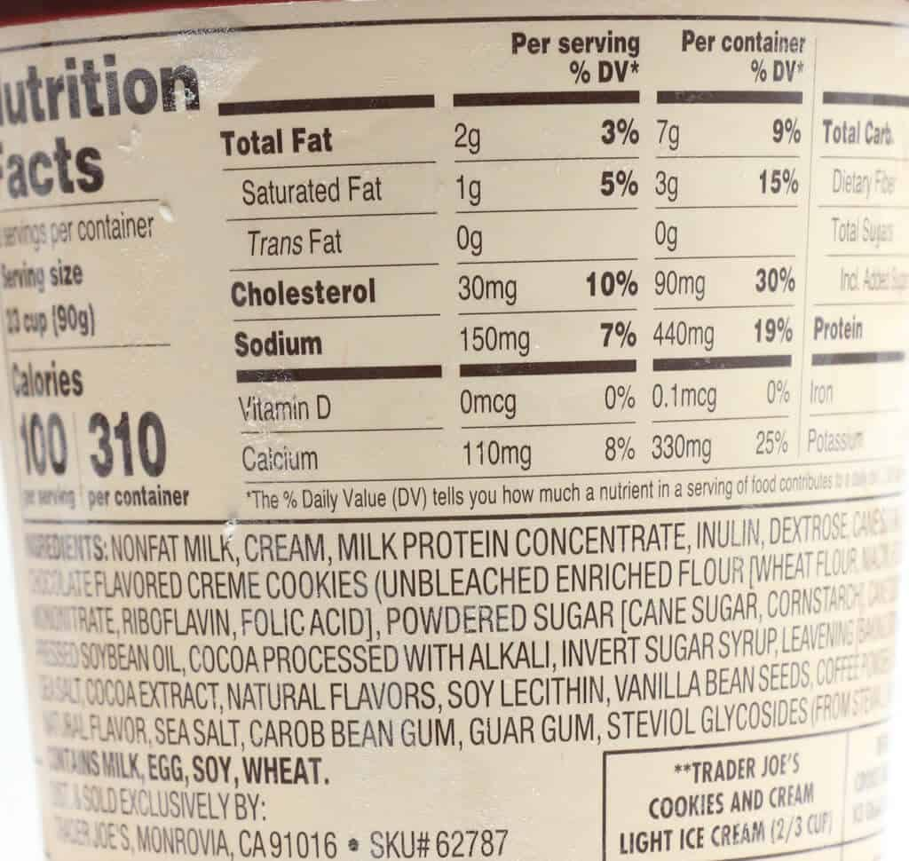 Trader Joe's Light Ice Cream calories and ingredients