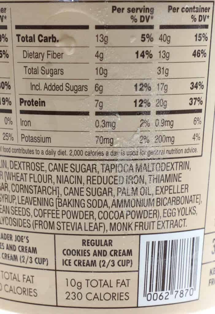 The other part of the calories, nutritional facts and ingredient list in Trader Joe's Light Ice Cream