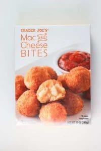 An unopened box of Trader Joe's Mac and Cheese Bites