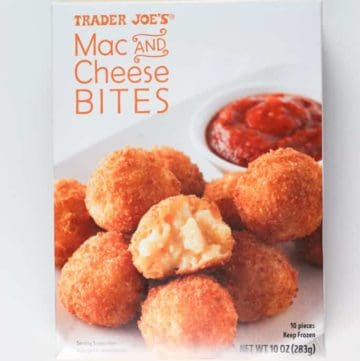 An unopened box of Trader Joe's Mac and Cheese Bites