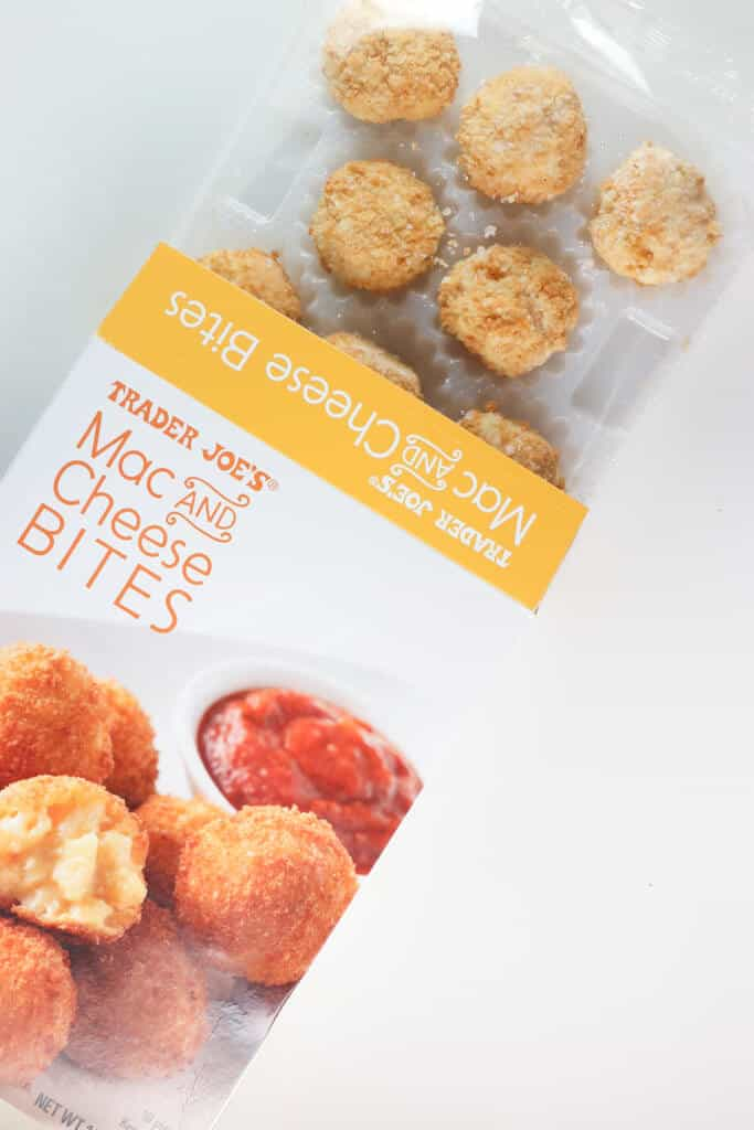 Frozen Trader Joe's Mac and Cheese Bites just out of the box