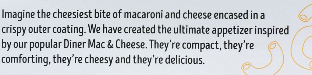 How Trader Joe's describes these mac and cheese bites