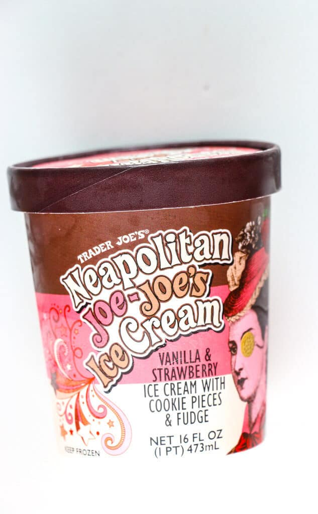 A container of Trader Joe's Neapolitan Joe Joe's Ice Cream