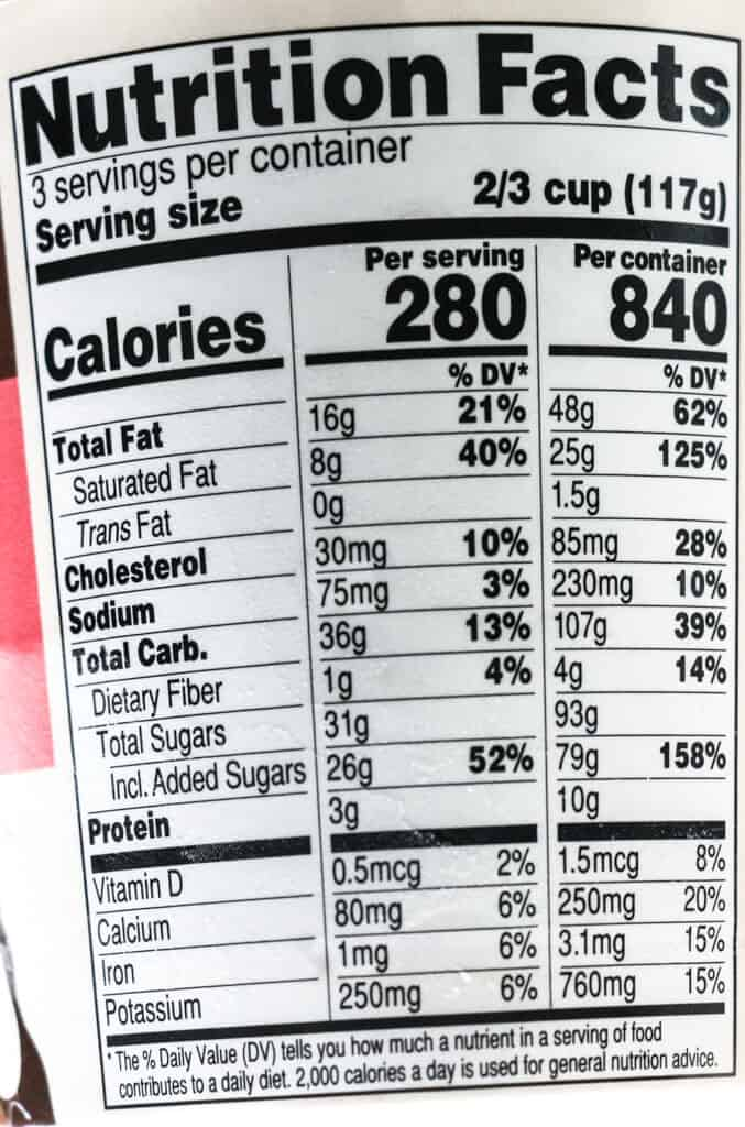 Nutritional facts and calories in Trader Joe's Neapolitan Joe Joe's Ice Cream