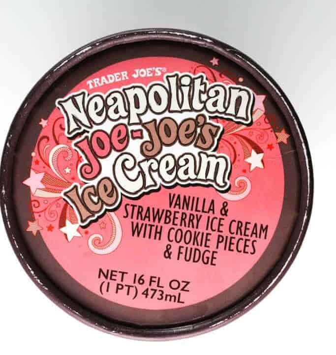 The top of the container of Trader Joe's Neapolitan Joe Joe's Ice Cream
