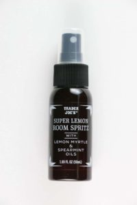 An unopened bottle of Trader Joe's Super Lemon Room Spritz