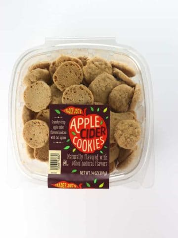 An unopened container of Trader Joe's Apple Cider Cookies