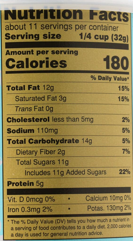 Calories and nutritional facts in Trader Joe's Butter Toffee Coated Virginia Peanuts
