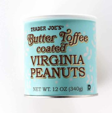 An unopened container of Trader Joe's Butter Toffee Coated Virginia Peanuts