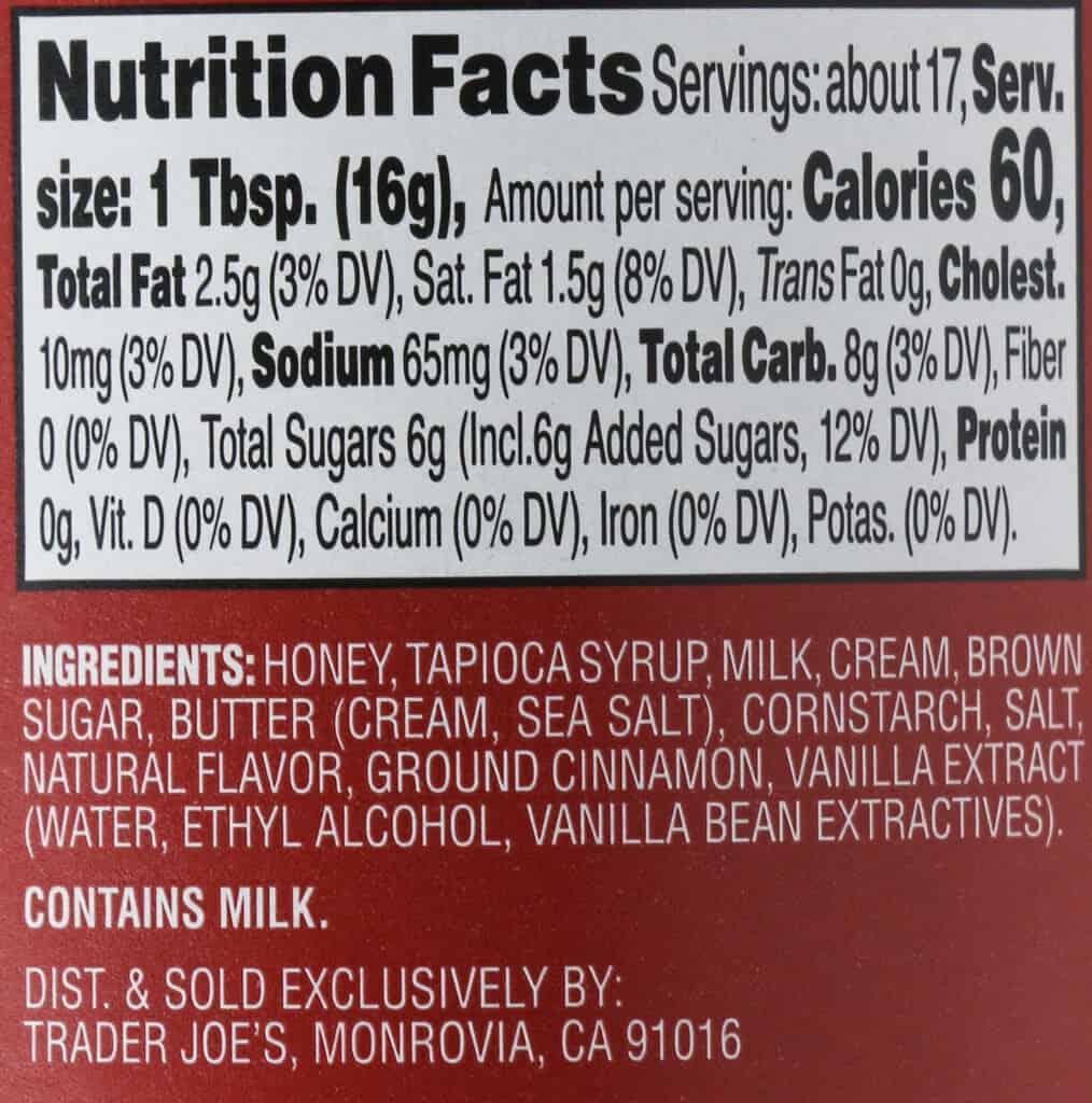 Calories and nutritional information in Trader Joe's Cinnamon Bun Spread