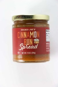 An unopened jar of Trader Joe's Cinnamon Bun Spread