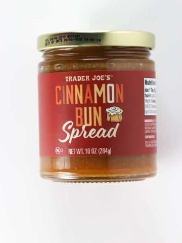 An unopened jar of Trader Joe's Cinnamon Bun Spread