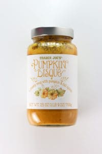 An unopened jar of Trader Joe's Pumpkin Bisque