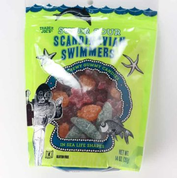 An unopened bag of Trader Joe's Super Sour Scandinavian Swimmers