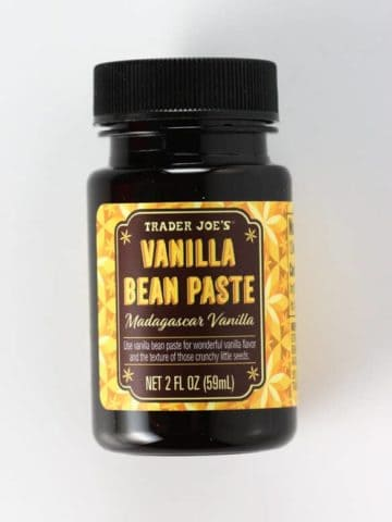 An unopened jar of Trader Joe's Vanilla Bean Paste
